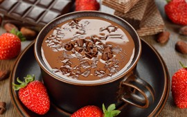 Preview wallpaper Hot chocolate, strawberries, dessert