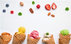 Preview wallpaper Ice cream, strawberry, blueberry, white background