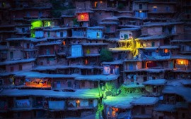 Preview wallpaper Iran, slums, houses, village, lights, night