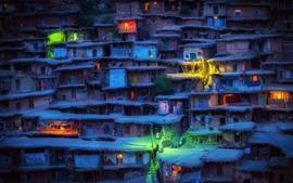 Иран, трущобы, дома, деревня, огни, ночь