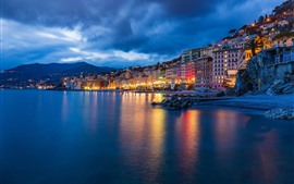 Preview wallpaper Italy, Ligurian sea, Camogli, night, city, lights, houses