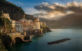 Preview wallpaper Italy, city, sea, mountains, clouds, sky