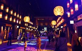 Japón, calle, gente, noche
