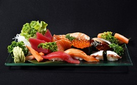 Preview wallpaper Japanese style food, meat, sushi, caviar