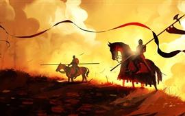 Рыцари, конь, воин, закат, художественная картина