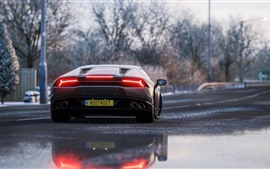 Preview wallpaper Lamborghini supercar back view, rear lights
