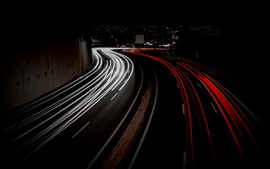 Light lines, road, city, night