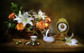 Preview wallpaper Lily, rose, basket, clock