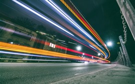 Preview wallpaper Lithuania, Kaunas, colorful light lines, speed, city, road, night