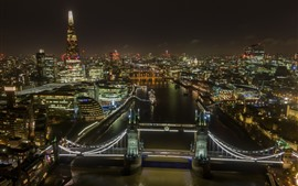 London, Tower Bridge, lights, river, city, England