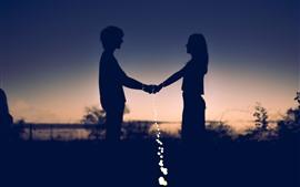 Amoureux, silhouettes, bonheur, lumières
