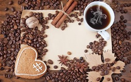 Preview wallpaper Many coffee beans, one cup of coffee, love heart, steam