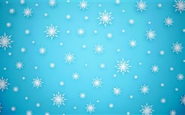 Preview wallpaper Many white snowflakes, blue background