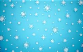 Muchos copos de nieve blanca, fondo azul