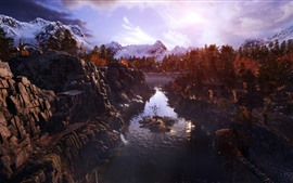Preview wallpaper Metro: Exodus, trees, mountains, river, autumn