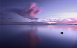 Morning, lake, light purple sky