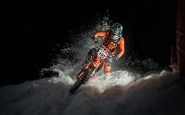 Preview wallpaper Motorcycle, race, snow, night