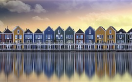 Netherlands, river, houses, colors, water reflection