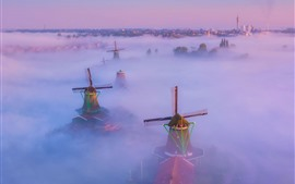 Preview wallpaper Netherlands, windmill, fog, top view