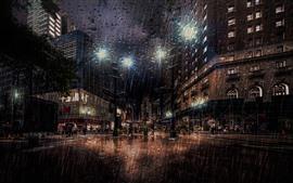 Nueva York, noche, calle, fuertes lluvias, luces, EE.UU.