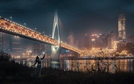 Night, city, bridge, illumination, girl, skyscrapers