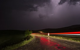 Night, road, light lines, clouds, storm