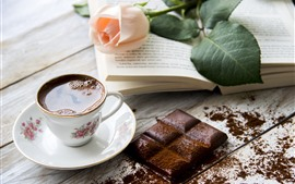 Preview wallpaper One cup of tea, chocolate, pink rose, book