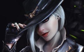 Preview wallpaper Overwatch, girl, white hair, hat, art picture