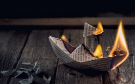 Preview wallpaper Paper boat, fire