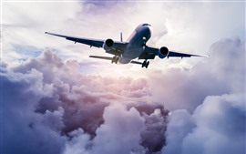 Preview wallpaper Passenger airplane, sky, thick clouds