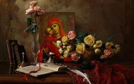 Rosas cor de rosa e amarelas, livros, foto