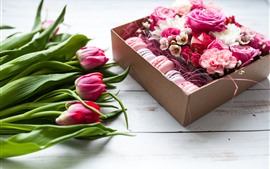 Preview wallpaper Pink tulips and roses, macaron, gift