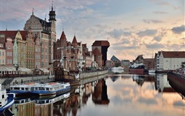 Preview wallpaper Poland, Gdansk, river, houses, city
