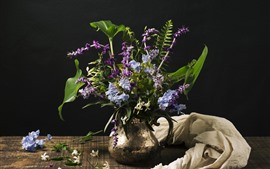 Preview wallpaper Purple and blue flowers, vase, black background