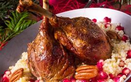 Roast chicken legs, food