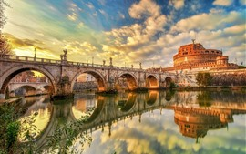 Preview wallpaper Rome, Italy, castle, river, bridge, water reflection