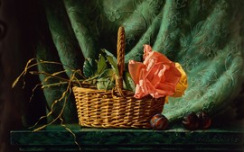 Preview wallpaper Rose, basket, plums, painting