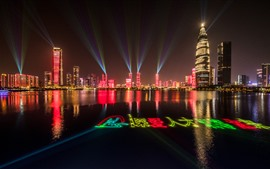 Preview wallpaper Shenzhen, light show, night, skyscrapers, lake