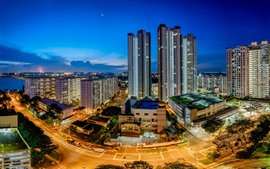 Aperçu fond d'écran Singapour, gratte-ciels, lumières, nuit, ville, routes