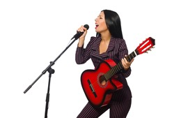 Singer, girl, microphone, guitar, white background
