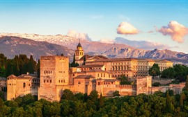 Preview wallpaper Spain, Granada, Alhambra, city, houses, mountains