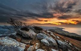 預覽桌布 石頭,雲彩,日落,海