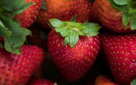 Preview wallpaper Strawberries, macro photography, fruit