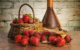 Preview wallpaper Strawberry, crocodile, basket, bottle