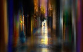 Улица, здания, дорога, зонт, цвета, креатив