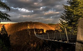 Ponte suspensa, montanhas, outono