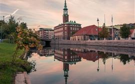 Suécia, Gotemburgo, rio, casas, cidade