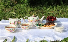 Preview wallpaper Tea, cookies, cherry, outside