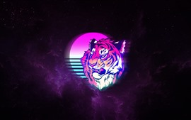Preview wallpaper Tiger, face, moon, space, art picture