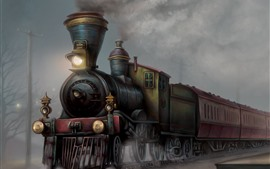 Preview wallpaper Train, art painting